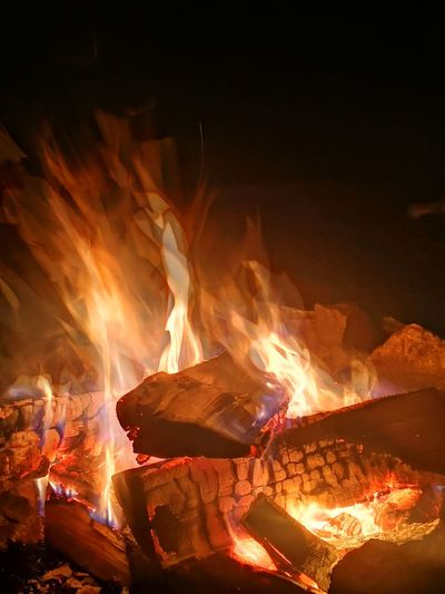 Night Luminosity Lava Molten Heat - Temperature Exploding Motion Bonfire Firewood Campfire Fire Woodpile Lit Flame Burning