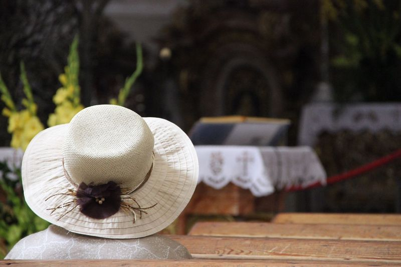 Close-Up Of Hat Against Altar
