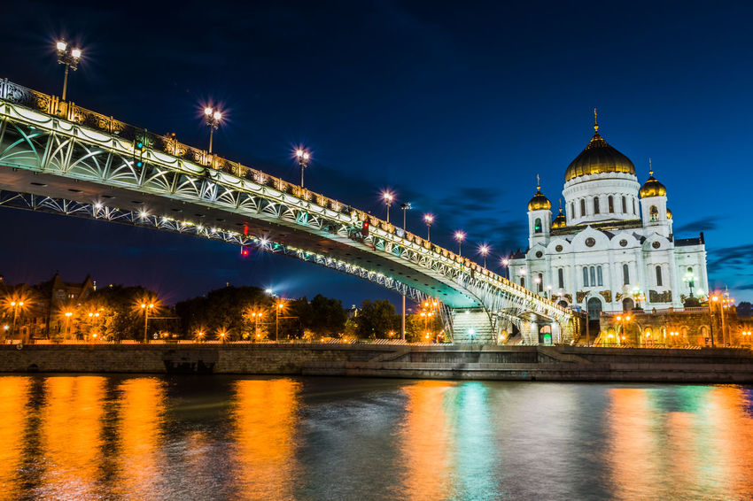 Cathedral Of Christ The Saviour Cityscape Light Moscow, Russia Architecture Bridge Bridge - Man Made Structure Building Building Exterior Built Structure City Government Illuminated Nature Night No People Outdoors Reflection River Sky Tourism Travel Travel Destinations Water Waterfront
