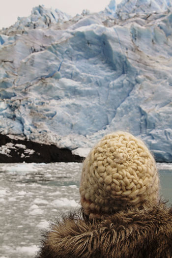Perito Moreno. Patagonia. Argentina. Winter Mountain Cold Temperature Snow Day Knit Hat Hat Mountain Range Close-up Focus On Foreground Nature Clothing Beauty In Nature Warm Clothing Rear View Tranquility Outdoors No People Snowcapped Mountain Glacier