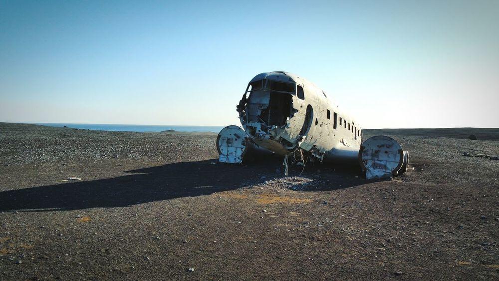 A remarkable view Iceland Crashed Plane Blacksandbeach