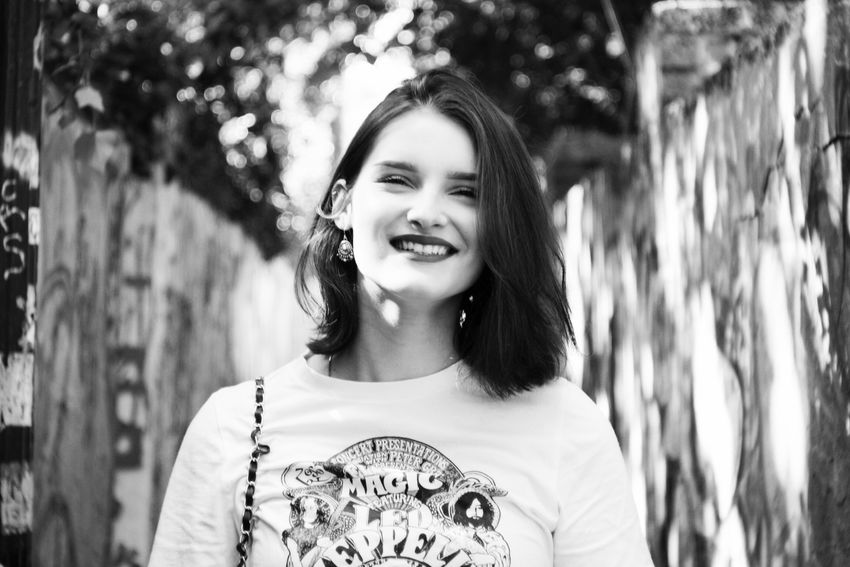 Beautiful. Inside and out. Portrait Portrait Photography Portrait Of A Woman Adults Only People Adult Individuality Fashion Outdoors Smiling Happiness Light And Shadow City Life Monochrome EyeEm Selects Taking Photos Shootermag The Week On EyeEm EyeEm Best Shots Love Yourself