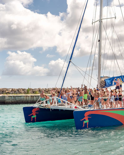 we're jammin' Catamaran Cruise Partyboat Party Fun Beach Cloud - Sky Sea Sky Water Nautical Vessel Vacations Outdoors Day People Adult
