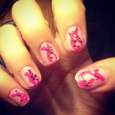Did my nails for breast cancer awareness month 》》 Breastcancerawareness BCA Pink Sparkles nails love beautiful