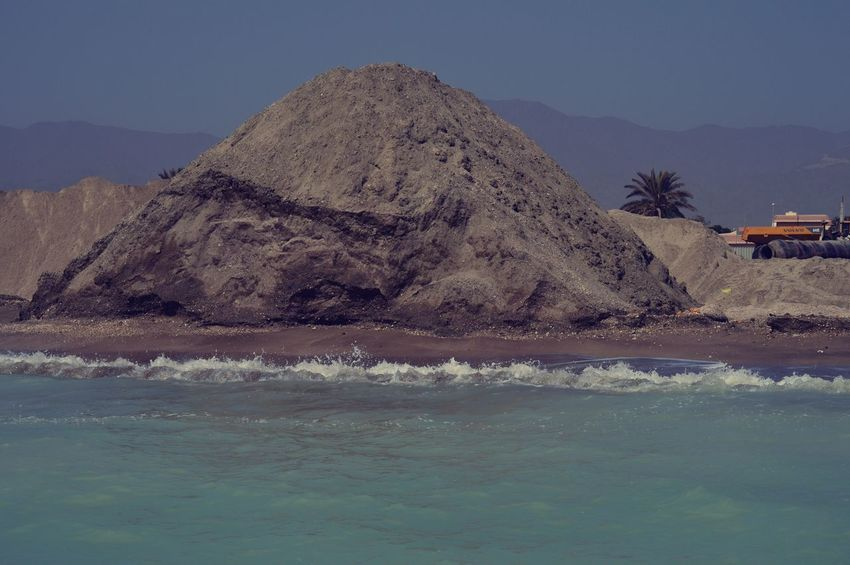 Blue Sky Construction Cranes Landscape Rocks And Water S Salt Sand Castle Sand Mountains Sand Pyramids Sea Construction Sea Side Shore Water Waves