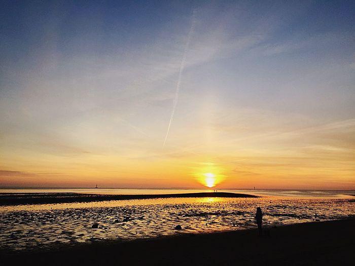 Esbjerg Sea Danmark Evening Sunny Day Hot Weather Beach Skies Sea Water Sunset Beautiful