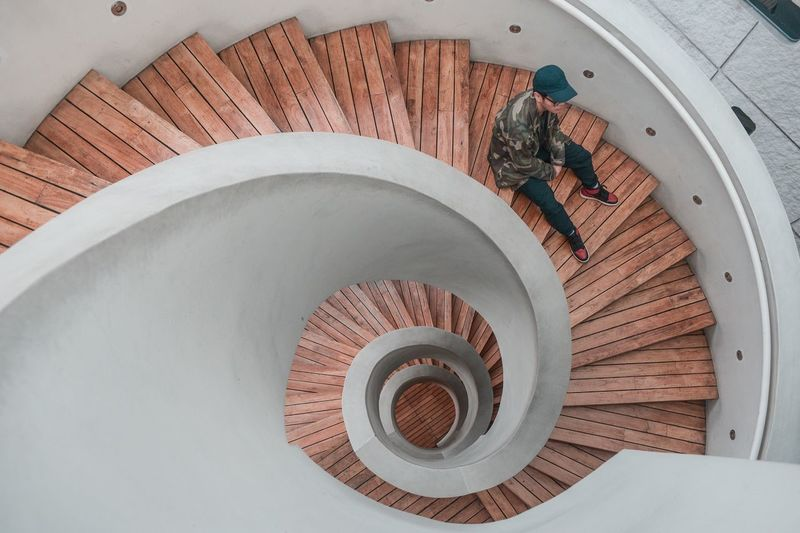 Streetwearfashion Streetwear High Angle View No People Indoors  Day Directly Above Nature Spiral Staircase Wood - Material Pattern