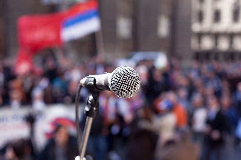 Protest. Public demonstration. Close-up Day Lectern Microphone Outdoors People Political Rally Politics Public Speaker Sound Recording Equipment Speech The Media