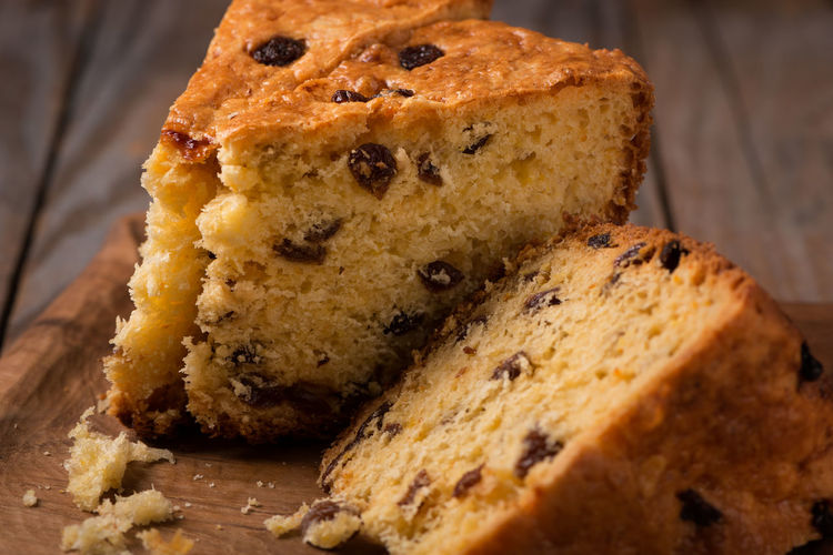 slices of home made cake with raisins on wooden plate close up Homemade Panettone Tradition Baked Bakery Breakfast Cake Calories Close-up Delicious Dessert Fat Food Gourmet No People Pieces Raisin Ready-to-eat Snack Still Life Sweet Sweet Food Tasty Traditional Wooden