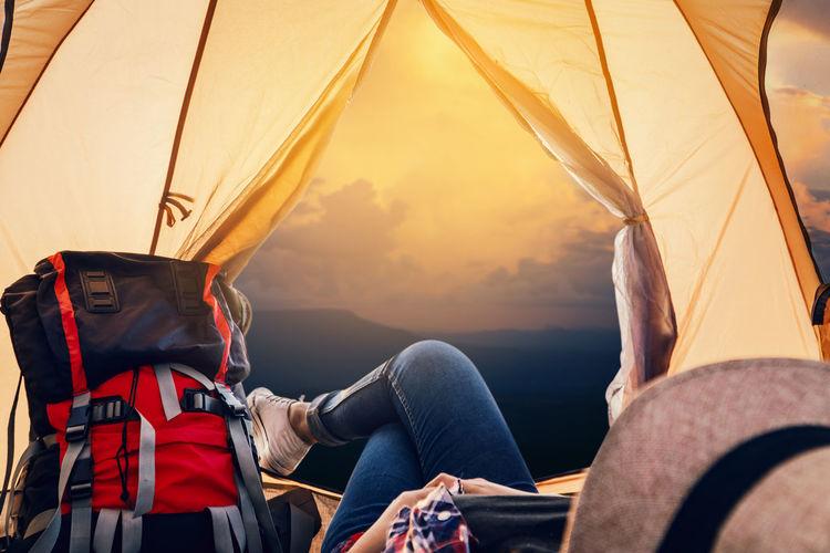Sunset Travel Lifestyles Nature Tent Sunlight Outdoors