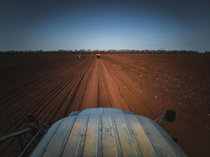 Railroad tracks on field against clear sky