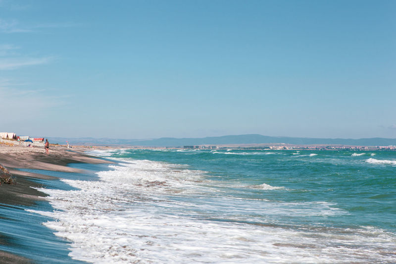 """Pomorie, Bulgaria - September 21, 2018: The area """"Kosata""""around the city. The beach is one of the most beautiful on the Bulgarian coast. Nature Travel Travel Photography Traveling Travelling Beach Beachphotography Beauty In Nature Day Land Nature Relaxation Sand Scenics - Nature Sea Sea And Sky Sky Skyscraper Summer Travel Destinations Travelphotography Water"""