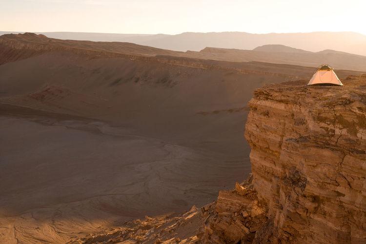 Tent on cliff at atacama desert