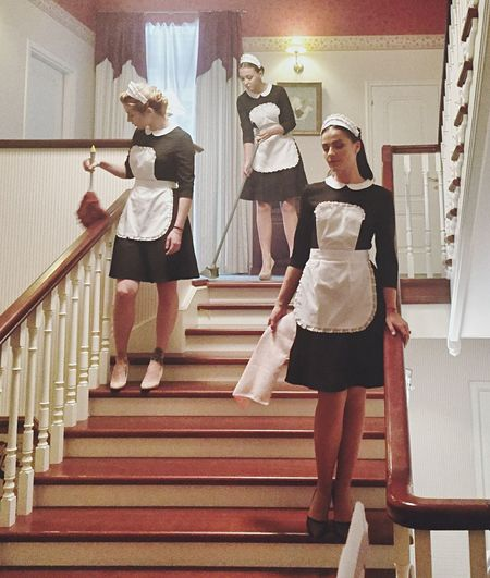 Staircase Steps And Staircases Steps People Indoors  Adults Only Togetherness Only Women Home Clean Maid Maids Cleaning Full Length Adult HousekeepingUniform Housekeeping Three People Three Women Film
