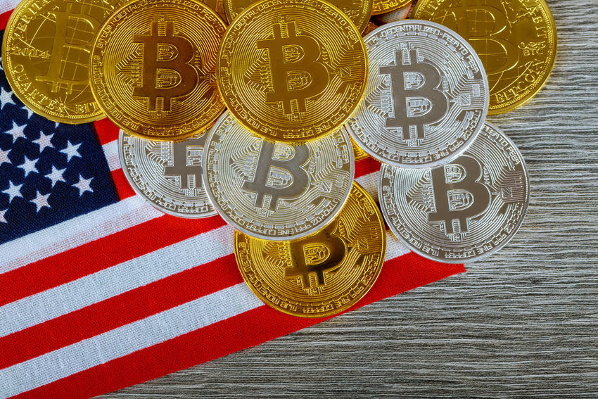 Bitcoin on the Flag of USA. Cryptocurrency on Background of Flag of United States of America American American Flag Business Currency E-commerce Market USA Banking Bitcoins Blockchain Technology Close-up Coin Cryptocurrency Cryptography Currency Digital Exchange Finance Finance And Economy Financial Money Payment In Cash Red Still Life Trade