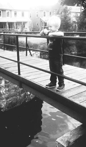 Chillin on a bridge MySON♥ Lovethiskid Blackandwhite