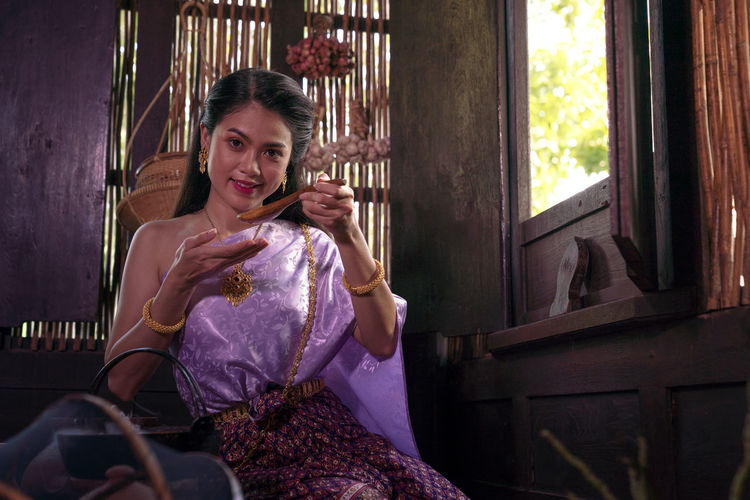 Asian woman wearing thai dress costume traditional according culture and tradition cooking