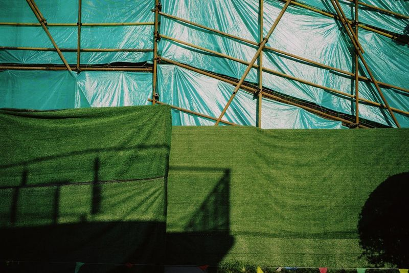 Low angle view of tent on field