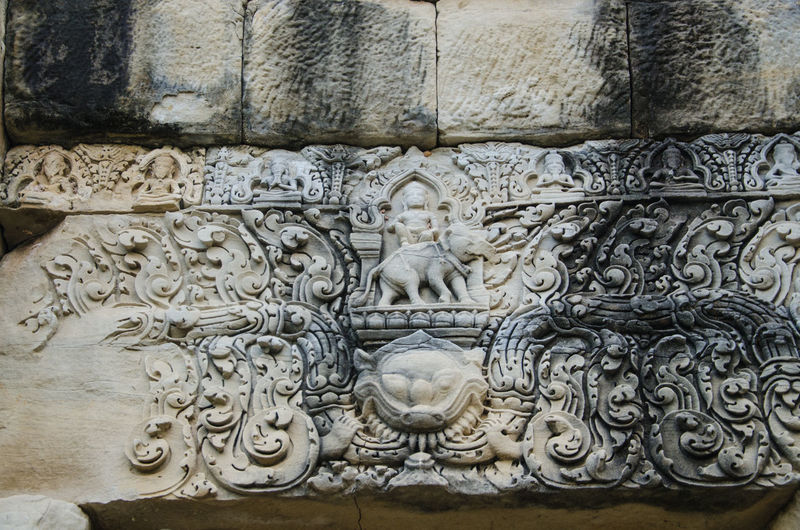 Animal Representation Architecture Art Art And Craft Built Structure Carving Carving - Craft Product Castle Craft Creativity Design History Human Representation Indoors  No People Old Sculpture Statue Thailand Tympanum Wall Wall - Building Feature Spotted In Thailand Prasat Ban Phluang Baphuon
