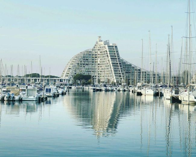 Lagrandemotte France Harbour Mediterranean  Boats Water Reflection Architecture Built Structure Mycity Sea Seascape