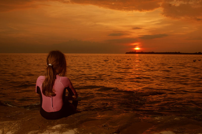 Adriatic Sea Adriatic Coast Seascape Sea And Sky Sunset Girl Travel Travel Photography Silhouette Nature Water Beach Vacations Outdoor Sky Summertime Evening Sky Evening Light Evening Sun Tourism Coast Swimming Plash Discovery Adventure