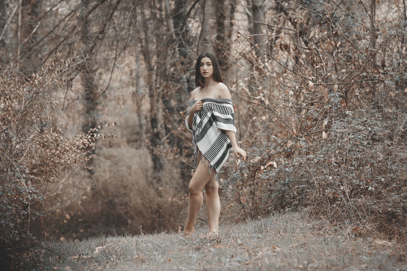 Into the forest Portrait Beauty In Nature Girl Legs Fashion Freshness Nature Nature Photography Freshness Outdoors Cold Temperature Winter Standing Full Length Beauty Fashion Desaturated Posing Scenics Idyllic Blooming