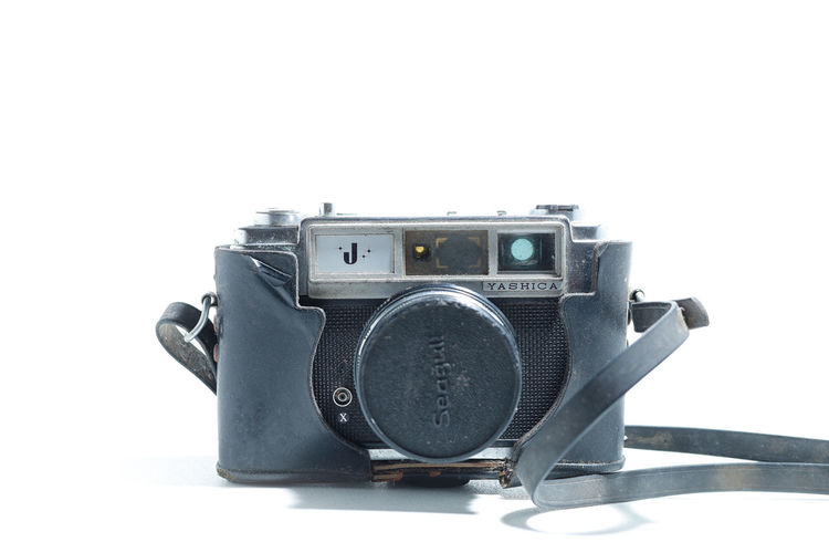 Tg. Malim, Perak, Malaysia, May 8, 2019 : An old vintage Yashica J camera over isolated white background Studio Shot White Background Indoors  Technology Still Life Single Object Close-up Cut Out Photography Themes Retro Styled Copy Space No People Camera Camera - Photographic Equipment Photographic Equipment Equipment Vintage Old Digital Camera