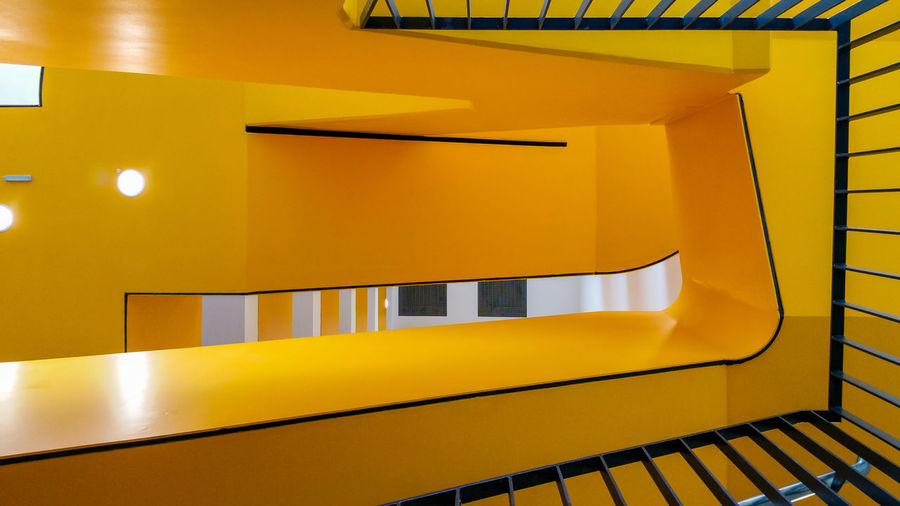 YellowStaircase Architecture Built Structure Day Handyphoto Indoors  Modern No People Orange Color Yellow