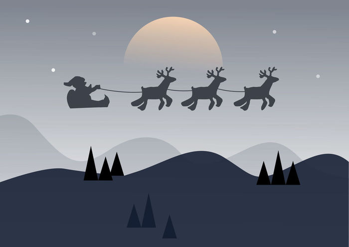 Santa flying in a sleigh with reindeer. Isolated object. Black silhouette Christmas. New Year. illustration Gift Abstract Celebration Christmas Flying Gray Illustration Reindeer Sled Sleigh Tree Deer Happy Moon New Santa Background Black Cartoon Claus Design Landscape Merry Night Silhouette