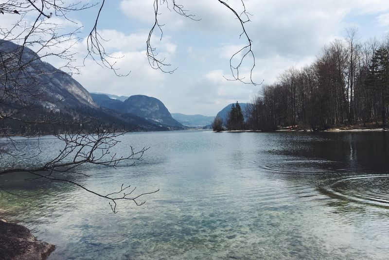 View over a lake in Slovenia. Beauty In Nature Cloud - Sky Day Lake Landscape Mountain Nature Nature Outdoors Peaceful Reflection Scenics Sky Slovenia Tree Water