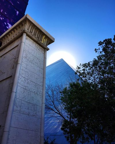 Built Structure Architecture Blue Sky Sun Travel Destinations Low Angle View Dramatic Angles Pyramid Las Vegas Back Lit IPhoneography Minimalist Architecture