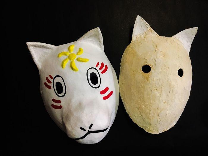 Then and now... Kitsune Noh masks Japanese Masks DIY Kitsune Kitsune Mask Noh Paper Machè Mask Paper Craft Representation Indoors  Creativity Art And Craft Black Background Studio Shot Still Life Craft