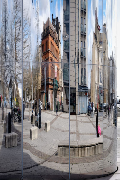 Architecture Building Building Exterior Built Structure Car Cardiff Cardiff City City City Life Day Incidental People Land Vehicle Large Group Of People Men Mode Of Transport Panoramic Person Reflection Reflections Road Street Transportation Tree