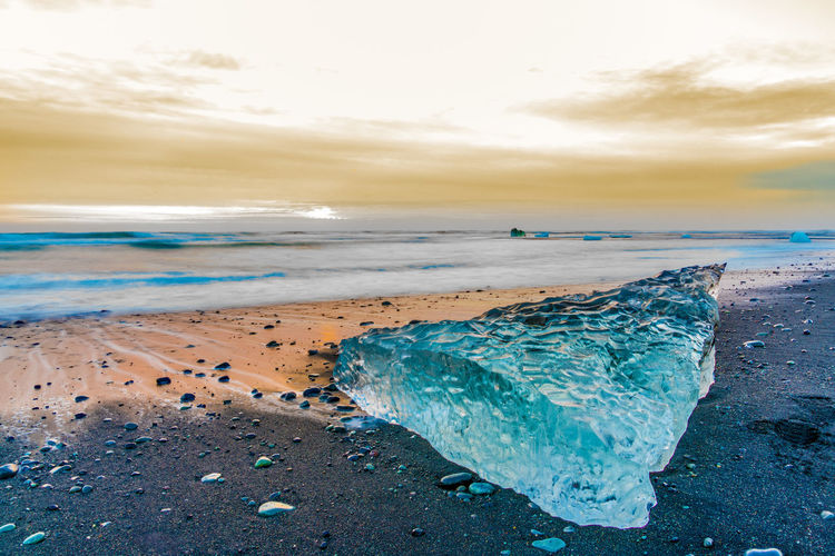 Iceland Winter Beach Beauty In Nature Cloud - Sky Day Diamond Beach Horizon Over Water Long Exposure Nature No People Outdoors Sand Scenics Sea Sky Sun Sunset Tranquil Scene Water Wave
