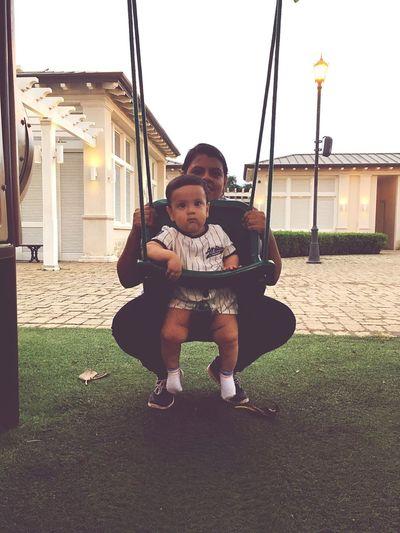 Baby Nephew  MyBoy Playground Looking At Camera Playing Grass Swing Happiness