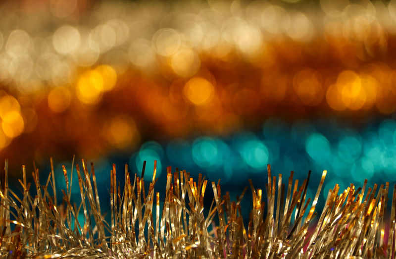 Defocused No People Illuminated Backgrounds Close-up Light - Natural Phenomenon Abstract Pattern Multi Colored Celebration Shiny Gold Colored Christmas Bright Light Abstract Backgrounds Bokeh