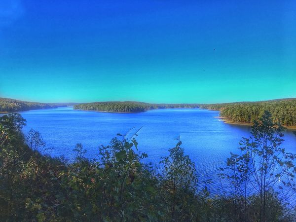 Lake view from the Dam Tranquil Scene Blue Water Tranquility Nature Scenics Clear Sky Beauty In Nature No People Sea Day Outdoors Plant Landscape Growth Horizon Over Water Grass Tree Sky Nature_collection Nature Nature Photography Naturelovers