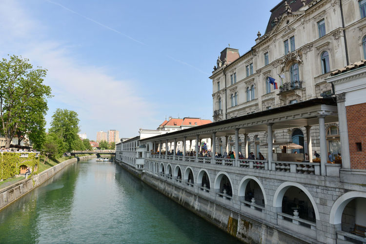 Architecture Blue Building Built Structure Canal City City Life Cloud Day Diminishing Perspective Fresh Green Capital Of Europe 2016 Grubarjev Prekop Ljubljana Ljubljana, Slovenia Ljubljanica Nature No People Outdoors Plečnik Residential Building Sky Travel Destinations Tržnica Battle Of The Cities