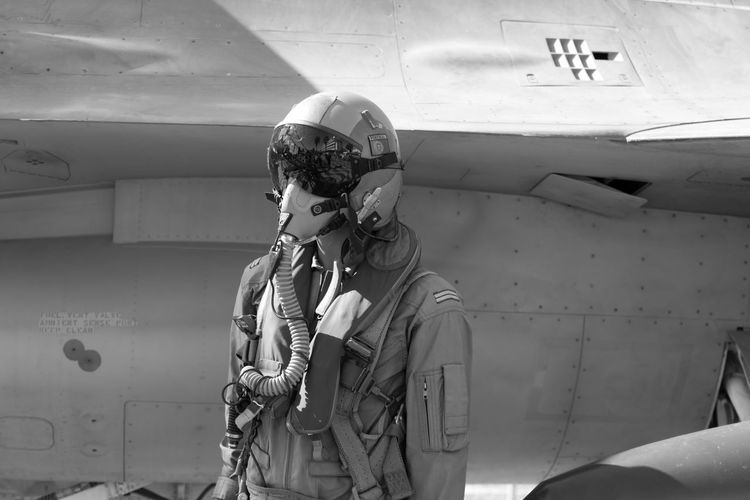 Black & White EyeEm EyeEm Best Shots EyeEmBestPics F16 Fighter Plane Air Vehicle Airforce Airplane Beauty In Nature Black And White Blackandwhite Blackandwhite Photography Close-up Clothing Eye4photography  Helmet Lifestyles Men Military Mode Of Transportation Monochrome Pilot Plane Standing Uniform