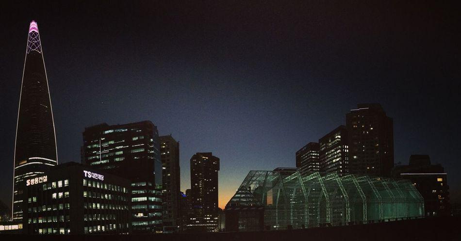 Night Korea Lotteworld Tower Seoul Jamsil