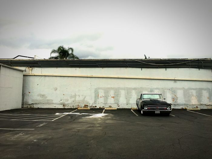 Los Angeles, California Valley Northridge  White Chevy Car Parking Lot Parked Palm Tree Chevolet Pickup 1960's Northridge  Concrete White Wall Iphone6