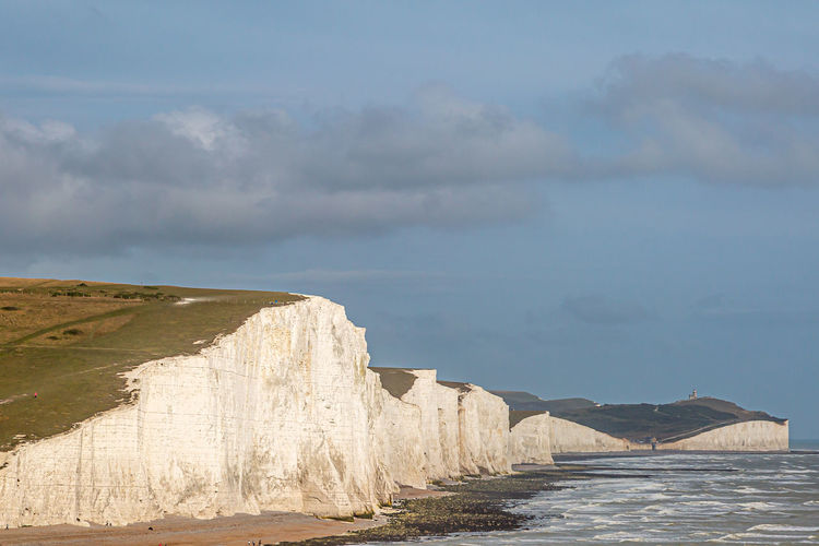 A view of the seven sisters cliffs in east sussex, on a summers evening