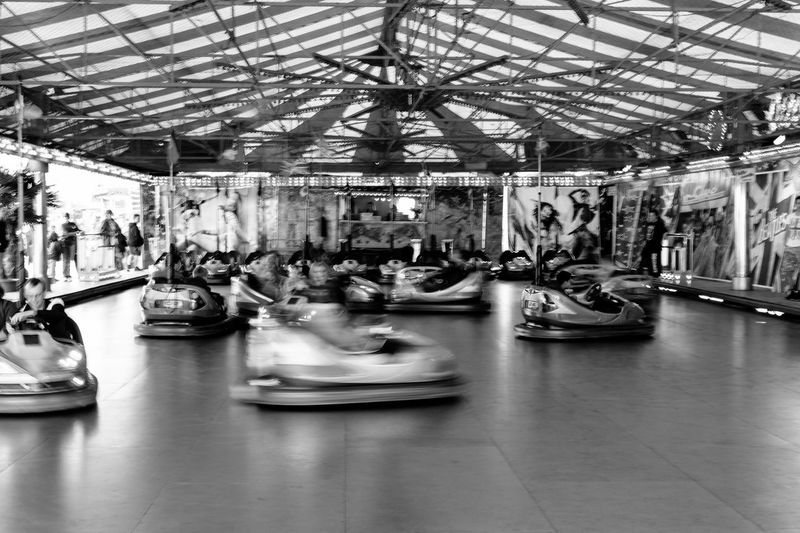 Bumper cars in amusement park