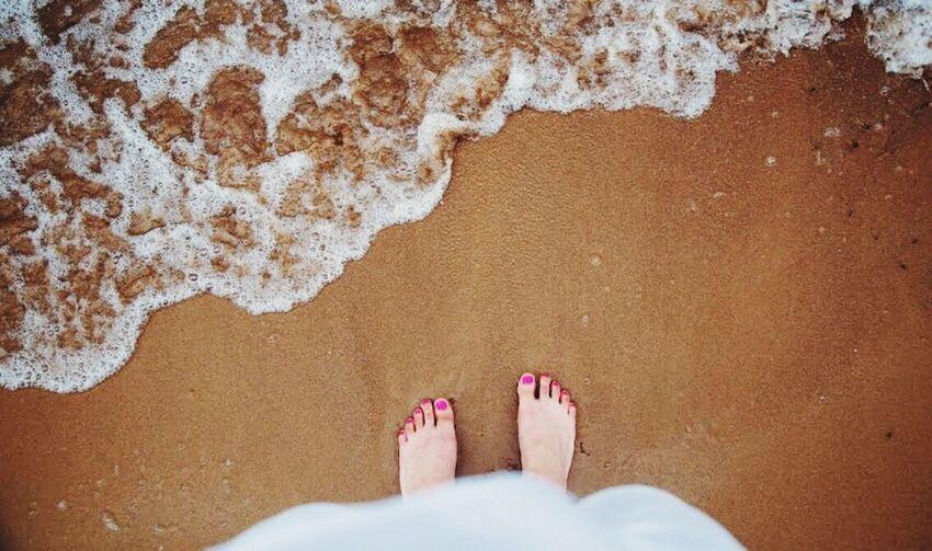 Low Section Sand Beach Human Foot Greece Kavos Corfu