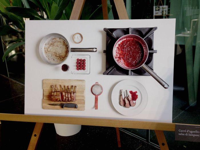 Carrè d'agnello con salsa di Lamponi  - Recipe by Giuliano Cingoli in his book called La separazione delle cotture (the separation of firings) amazing theory and representation - Expo 2015 foodporn