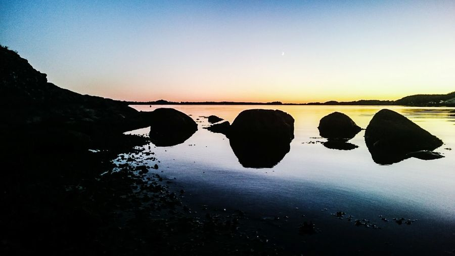 Tranquil Scene Beauty In Nature Reflection Sunset Hafrsfjord