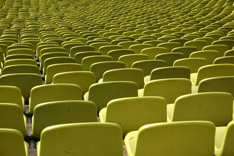 Full Frame Shot Of Yellow Bleachers In Theater