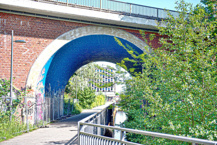 Arch bridge over footpath in city