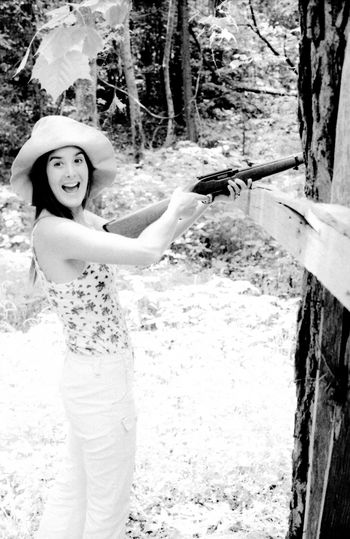 Real People Young Women Young Adult Old Photo Beautiful Woman Looking At Camera Target Pratice Gun Range Black & White MyWife❤️