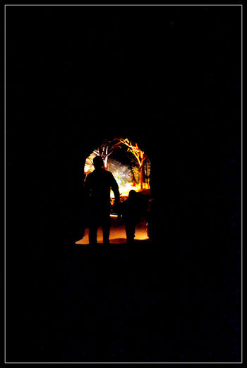 Arched Cave Conformity Father Son Moments Full Length Light In Background Love Silhouette Together Tunnel